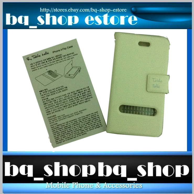 White Leather Folding Case Cover for Apple iphone 4 4S