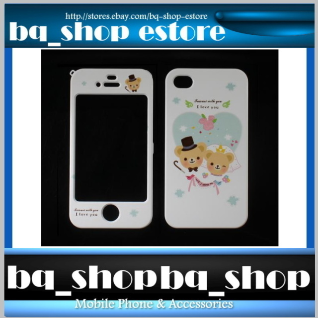 Hard Case Cover for Apple IPhone 4 4S Korea Happiness Bear Blue