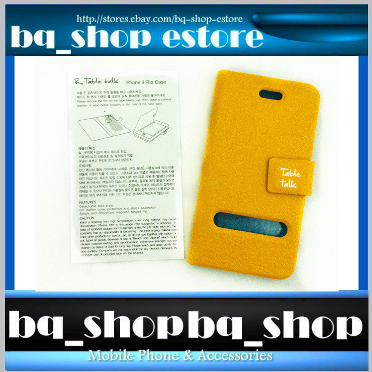 Yellow Leather Folding Case Cover for Apple iphone 4 4S