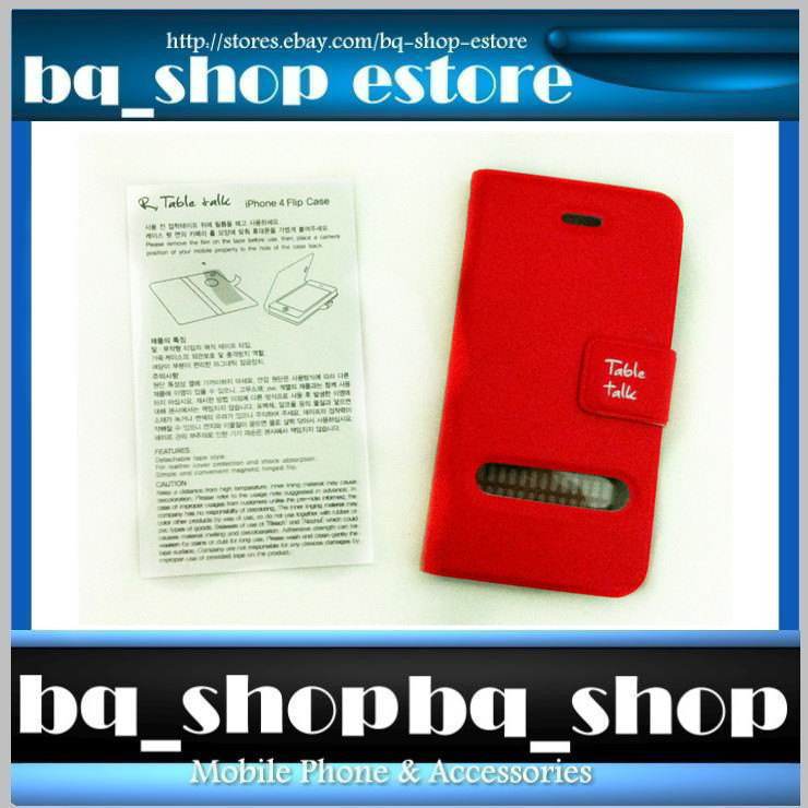 Red Leather Folding Case Cover for Apple iphone 4 4S