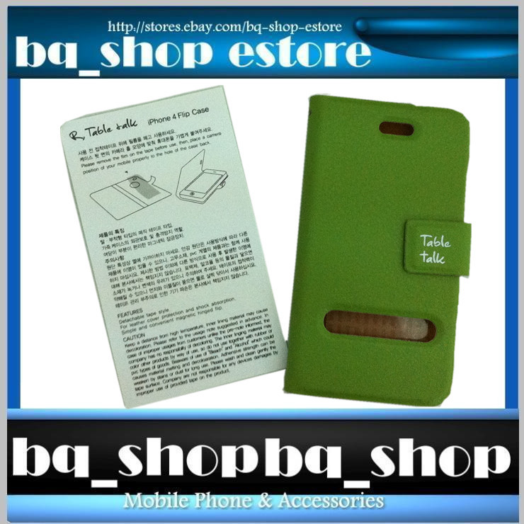 Green Leather Folding Case Cover for Apple iphone 4 4S